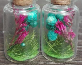 Náušnice - růžový vřes a tyrkysové kuličky, sušené květy