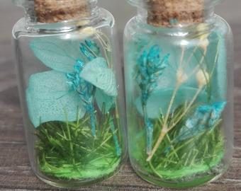 Náušnice - světle modrý vřes i květy, sušené květy