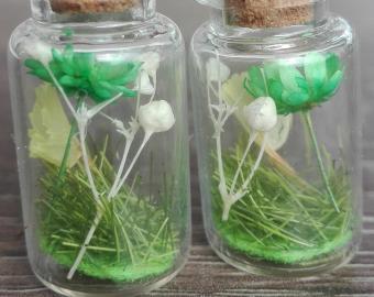 Náušnice - zelené květy a bílé kuličky, sušené květy