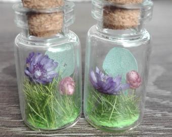 Náušnice-fialové květy, starorůžová a modré lístky, sušené květy