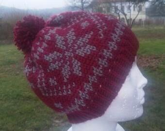 Háčkovaná vzorovaná čepice