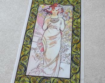 Velký bavlněný panel A.Mucha - Růže
