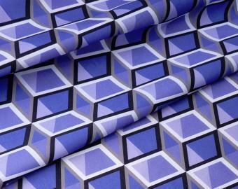 Bavlněná látka - fialové krychle
