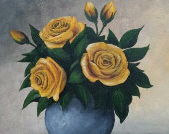 Žluté růže - malba akrylem 20x20