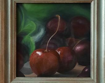 Třešně - originální malba akrylem 20x20