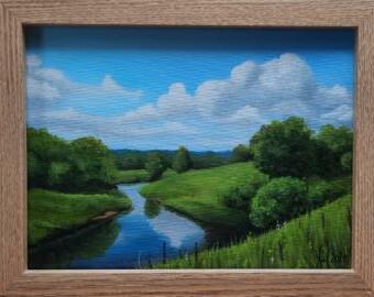 Řeka - Malba akrylem v rámu, Reprodukce