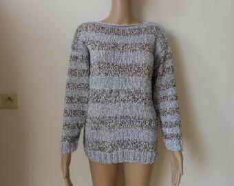 Dámský ručně pletený bavlněný svetřík - halenka