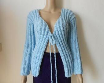 Ručně pletený vlněný svetřík S-L