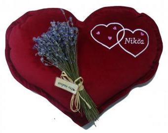 Velký polštář ve tvaru srdce - červený (45 cm)