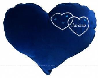 Velký polštář ve tvaru srdce - modrý (45 cm)