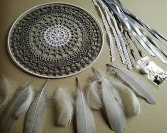 Sada na lapač snů k dotvoření (30 cm) - holubí šeď