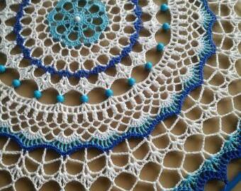 Základ lapače snů 40 cm - modrá krajka s kruhem
