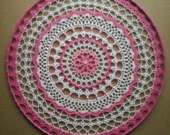 Základ lapače snů 40 cm - růžová krajka s kruhem