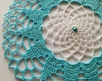 Krajka do lapače snů - 18 cm (azurovo-bílá)
