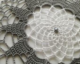 Krajka do lapače snů - 18 cm (šedo-bílá)