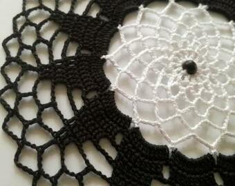 Krajka do lapače snů - 18 cm (černo-bílá)