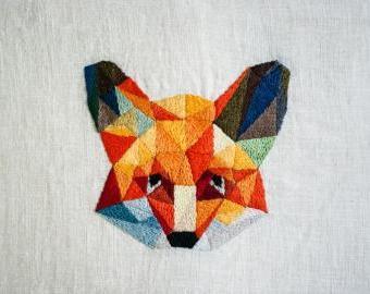 Geometrická liška - vyšívací sada