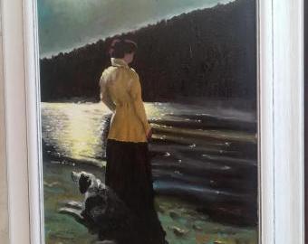 Žena v měsíčním svitu se psem