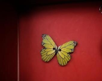 Knoflík dřevěný motýl žlutý